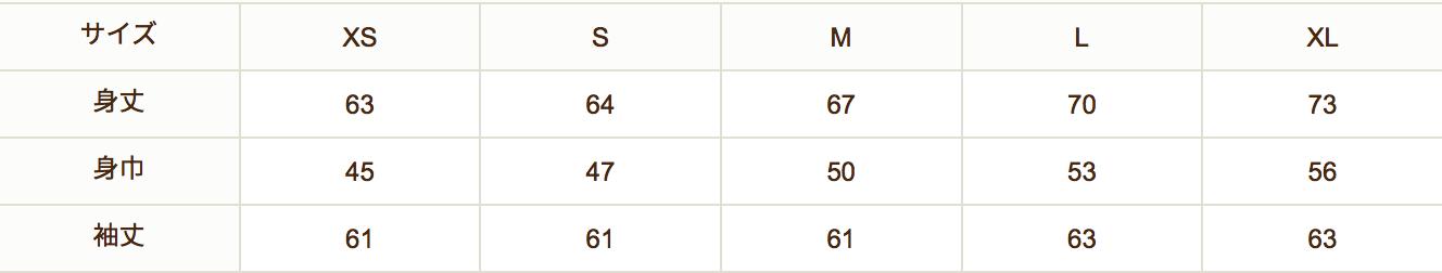 パーカサイズ表
