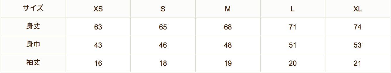 メンズTサイズ表